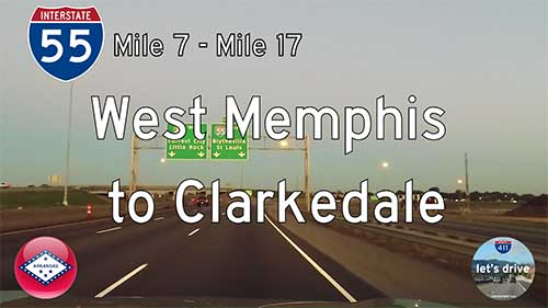 Interstate 55 North - Mile 7 to Mile 17 - Arkansas