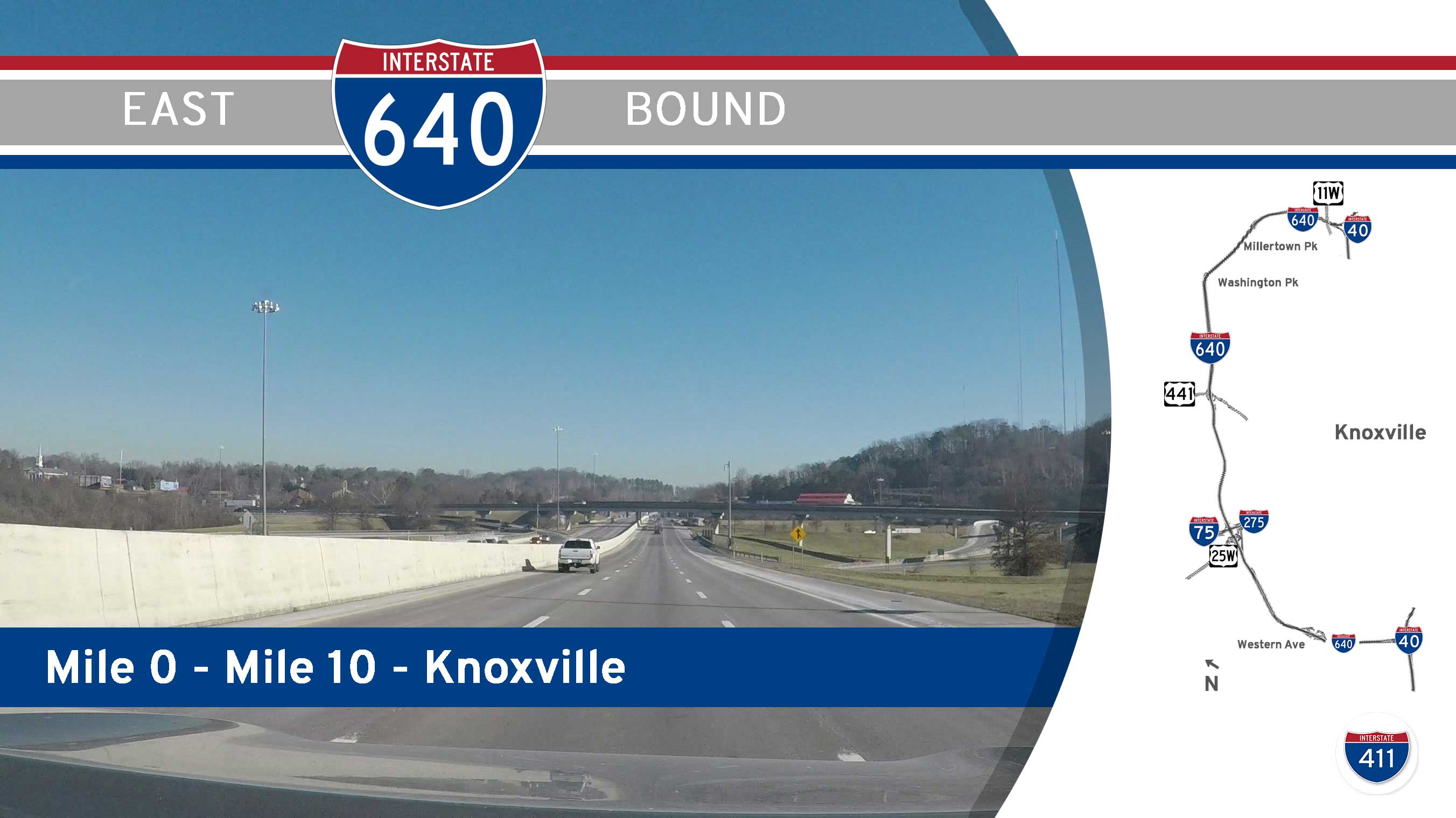 Interstate 640 - Mile 0 to Mile 10 - Knoxville, Tennessee