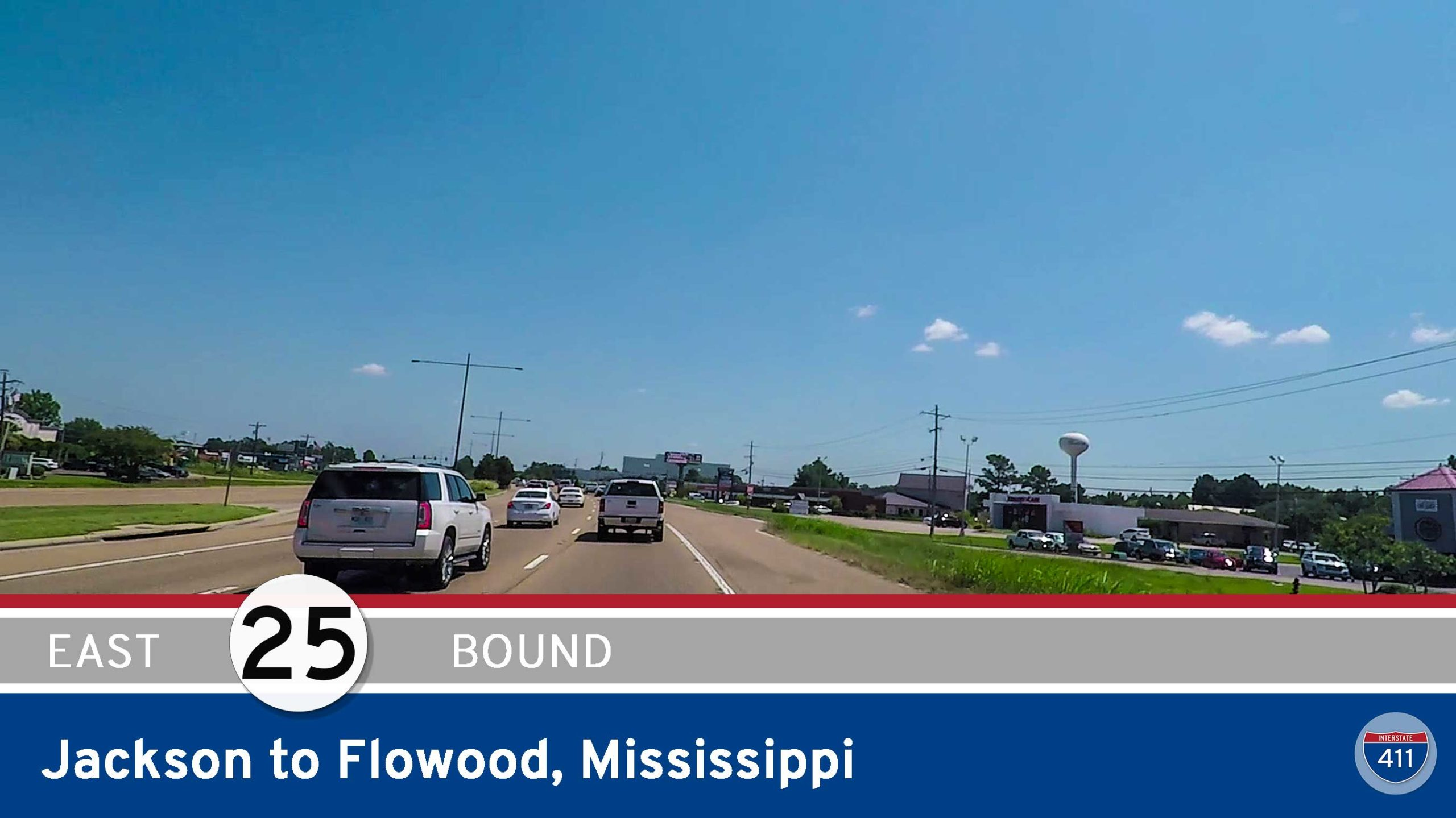 Drive America's Highways for 3.5 miles east along Mississippi Highway 25 from Jackson to Flowood, Mississippi.