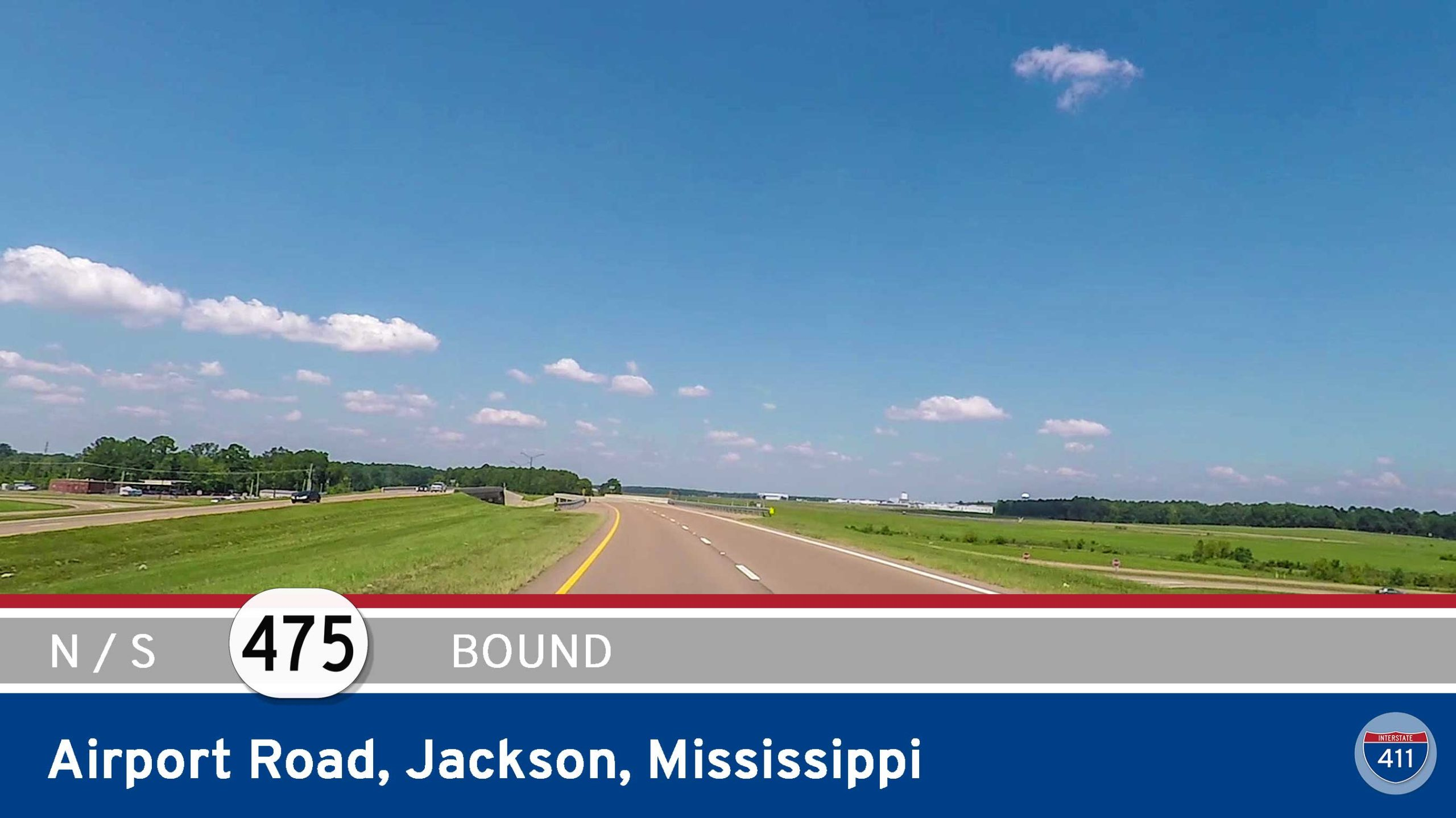 Drive America's Highways both directions along Mississippi Highway 475 - Airport Rd in Jackson.