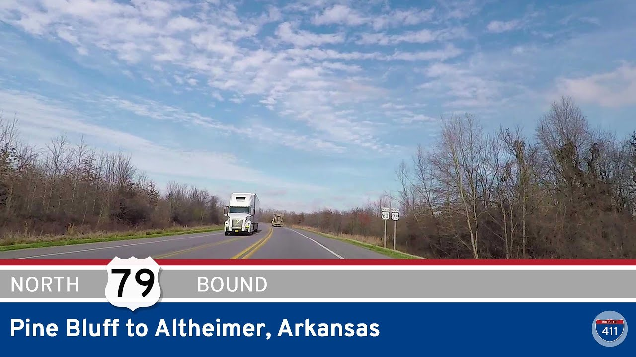 Drive America's Highways for 11 miles north along U.S. Highway 79 from Pine Bluff to Altheimer, Arkansas