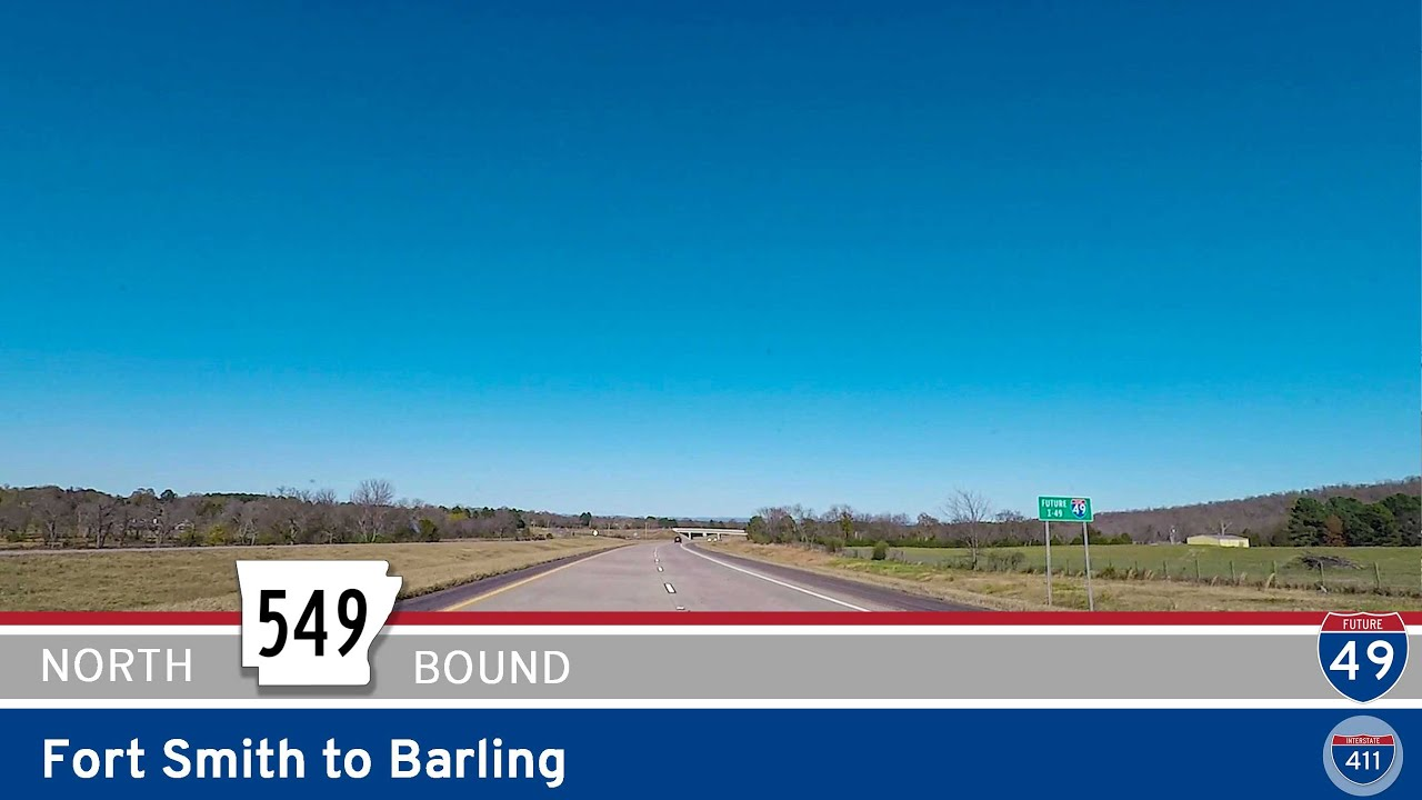 Drive America's Highways for 6 miles north along Future Interstate 49 from Fort Smith to Barling in Arkansas.