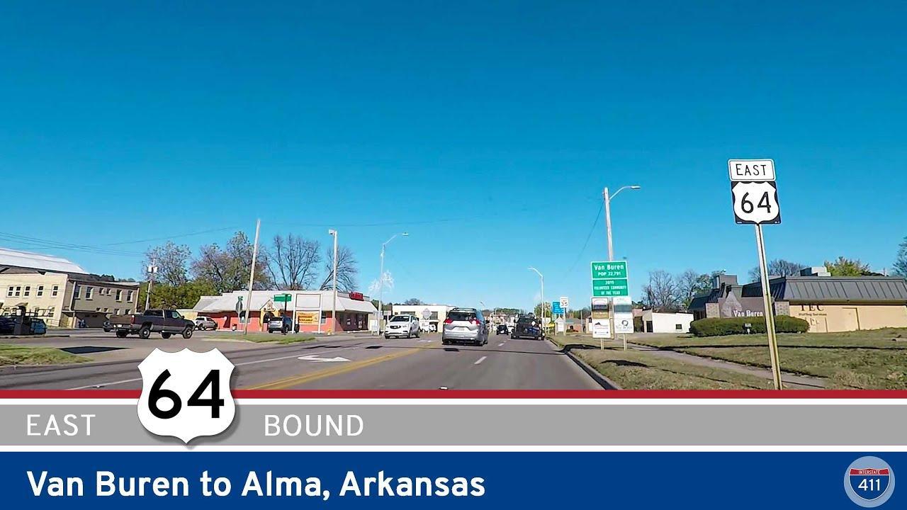Drive America's Highways for 8 miles east along U.S. Highway 64 from Van Buren to Alma, Arkansas.