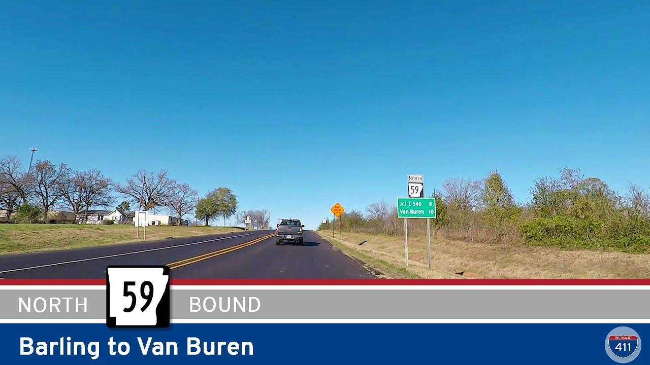 Drive America's Highways for 10 miles north along Arkansas Highway 59 from Barling to Van Buren.