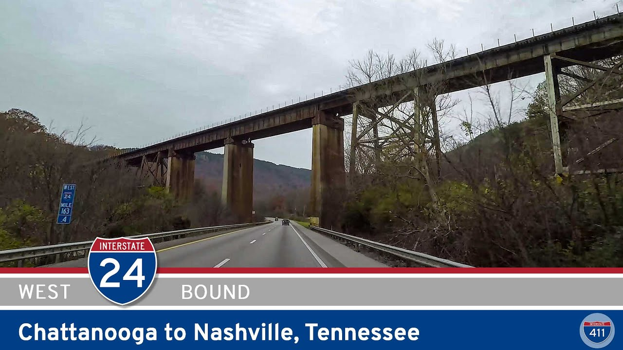 Drive America's Highways for 127 miles west along Interstate 24 from Chattanooga to Nashville, Tennessee.