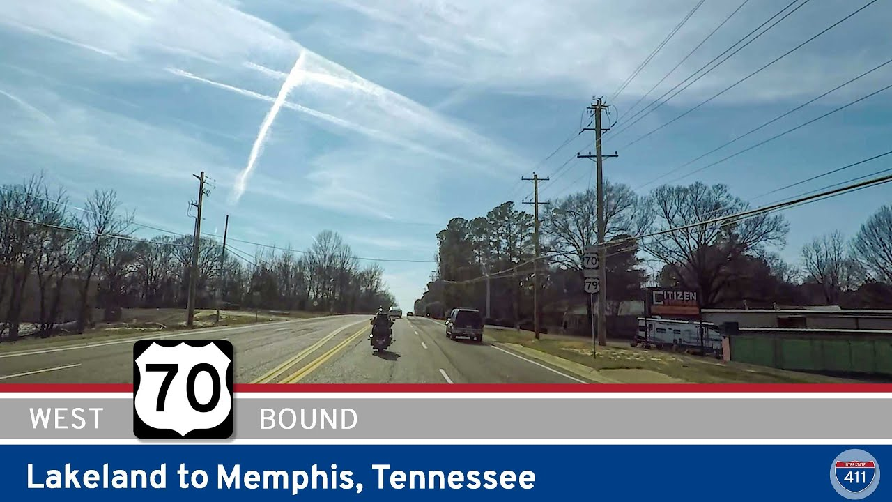 Drive America's Highways for 13 miles west along U.S. Highway 70 from Lakeland to Memphis, Tennessee.