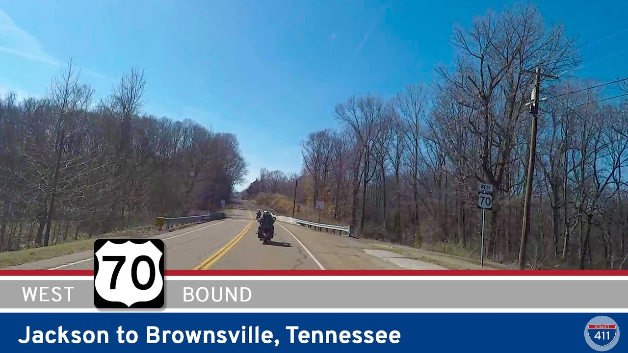 Drive America's Highways for 27 miles west along U.S. Highway 70 from Jackson to Brownsville, Tennessee