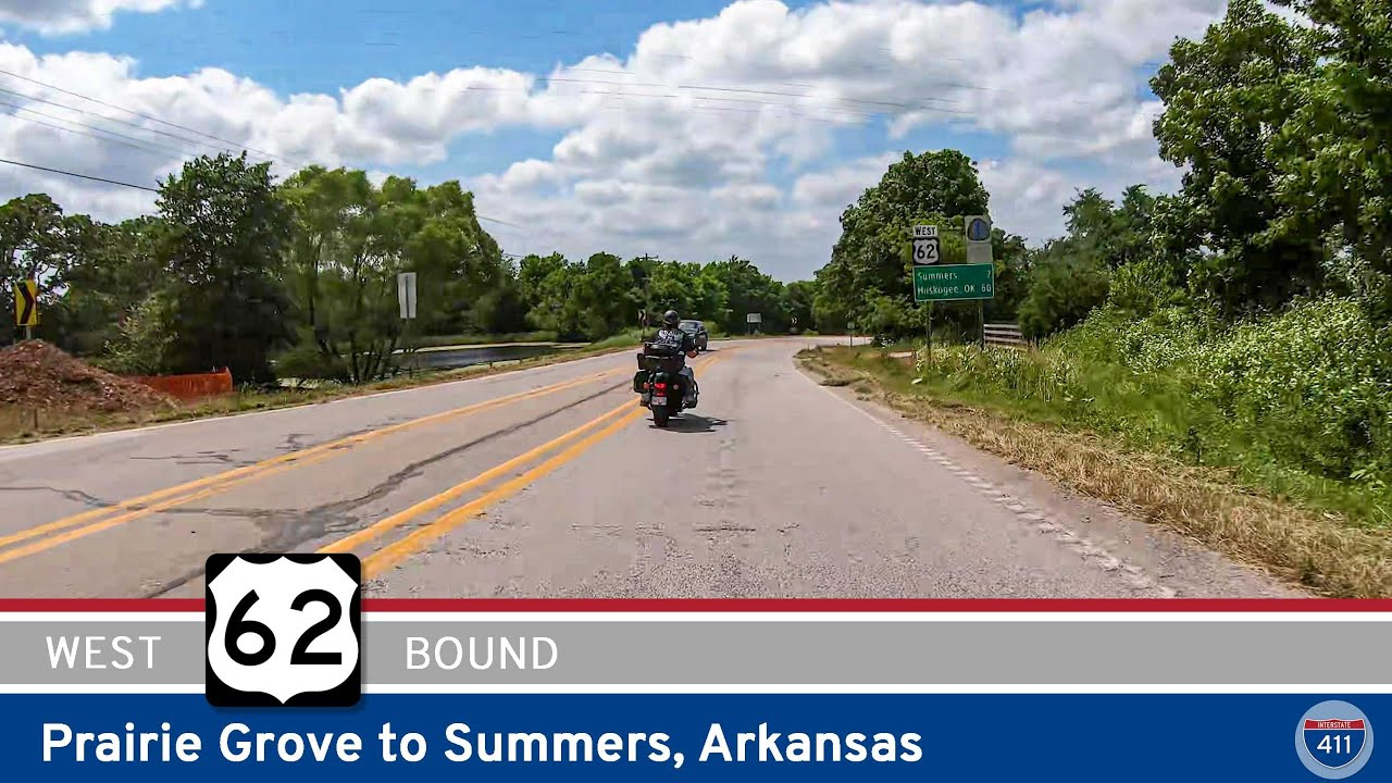Drive America's Highways for 10 miles west along U.S. Highway 62 from Prairie Grove to Summers, Arkansas