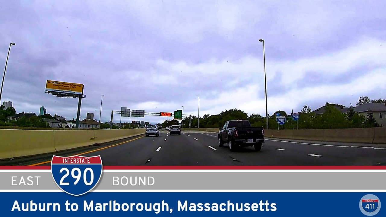 🚙 Drive America's Highways for 21 miles east along Interstate 290 from Auburn to Marlborough in Massachusetts
