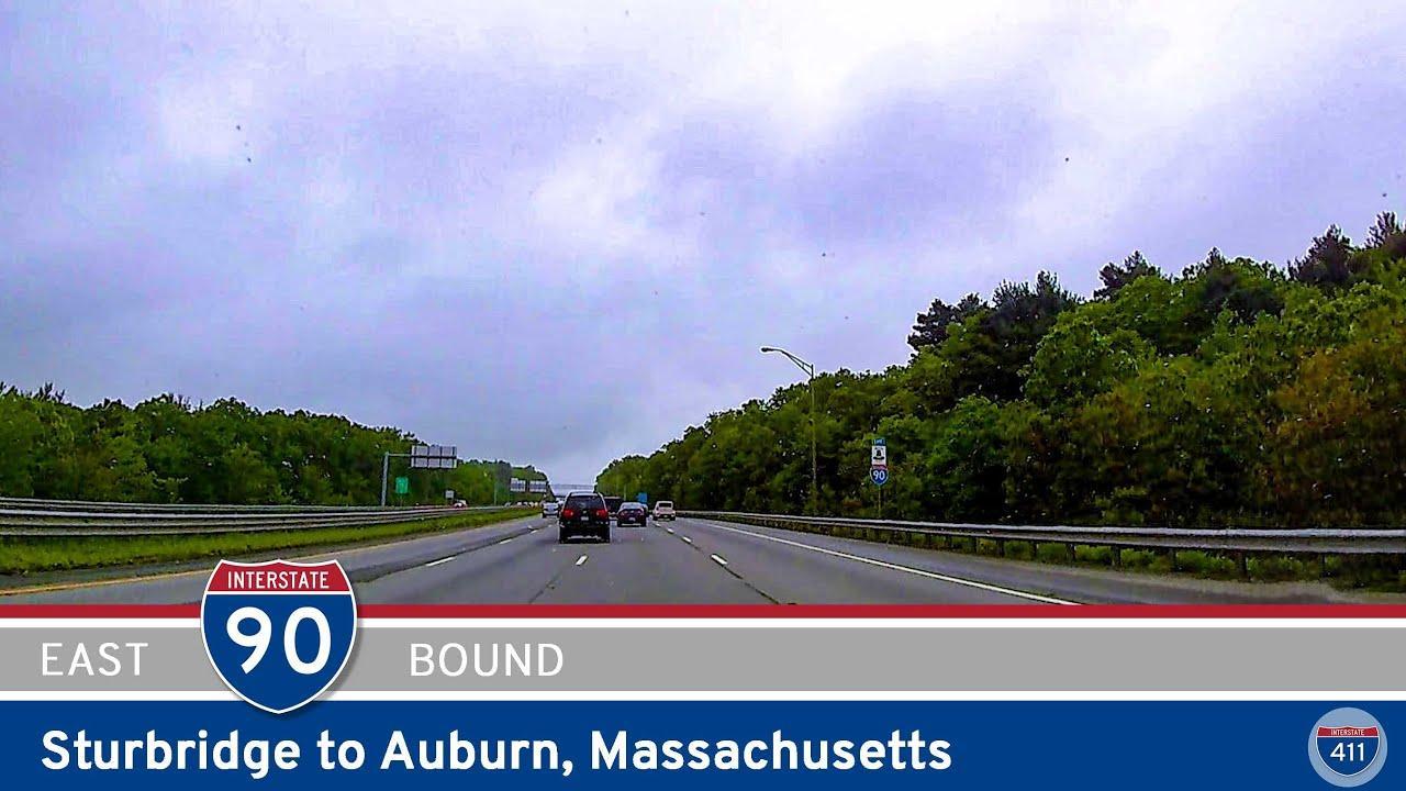 Drive America's Highways for 12 miles east along Interstate 90 from Sturbridge to Auburn in Massachusetts.